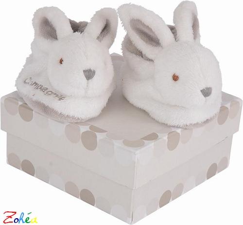 Coffret chaussons lapin bonbon taupe